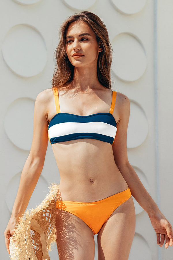 Colorblock Bandeau Low Rised Bikini