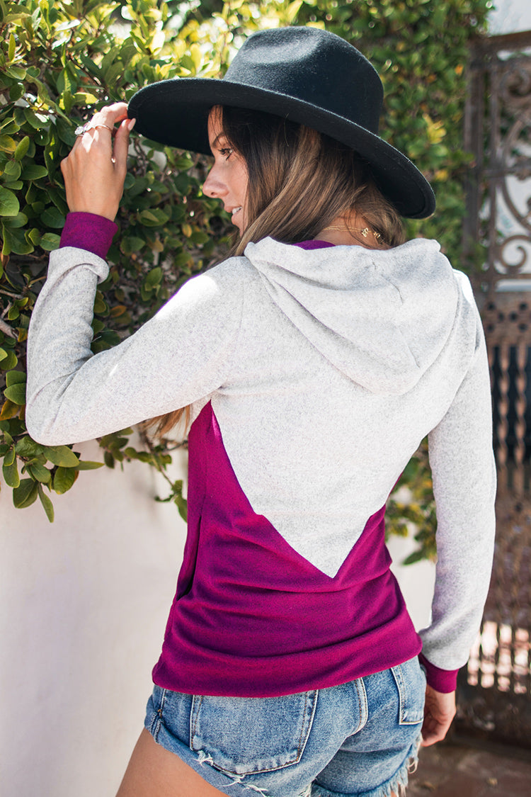 Grey and Colorblocked Hoodie