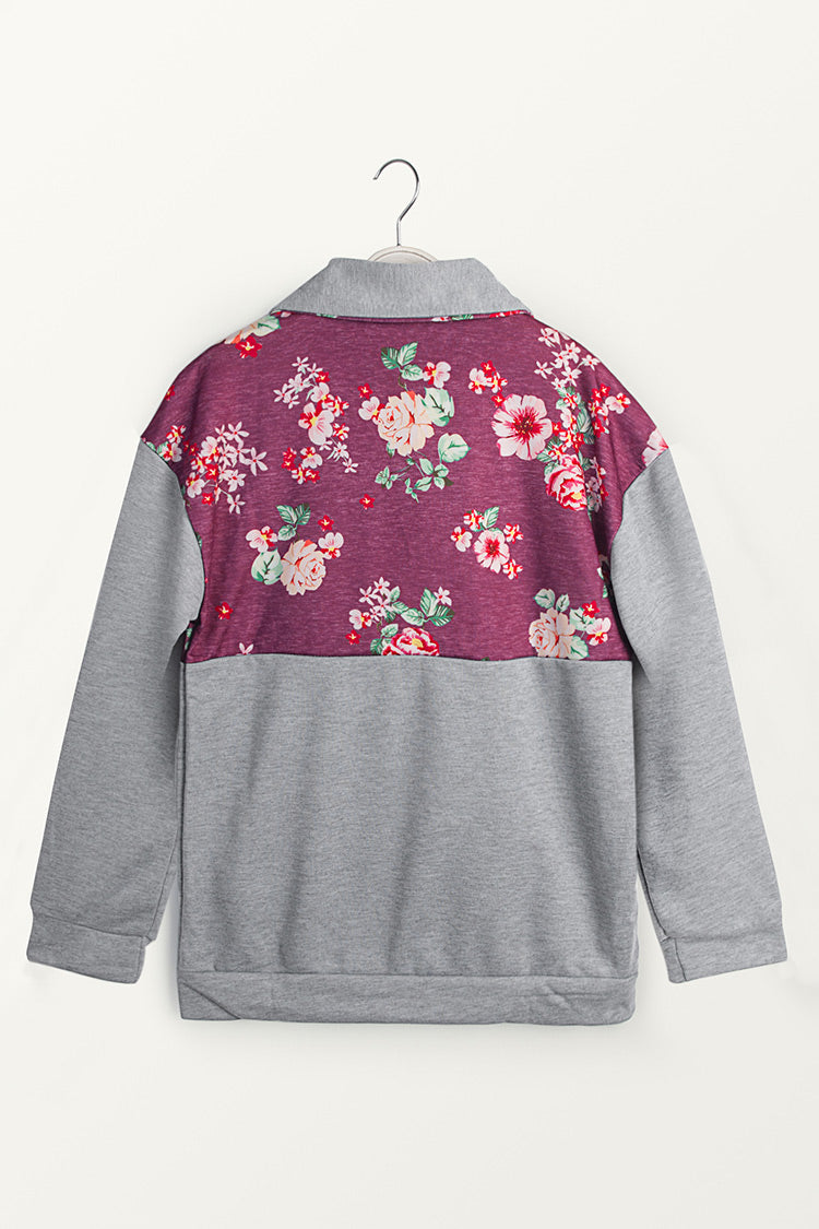 Gray and Red Floral Zip Front Pullover