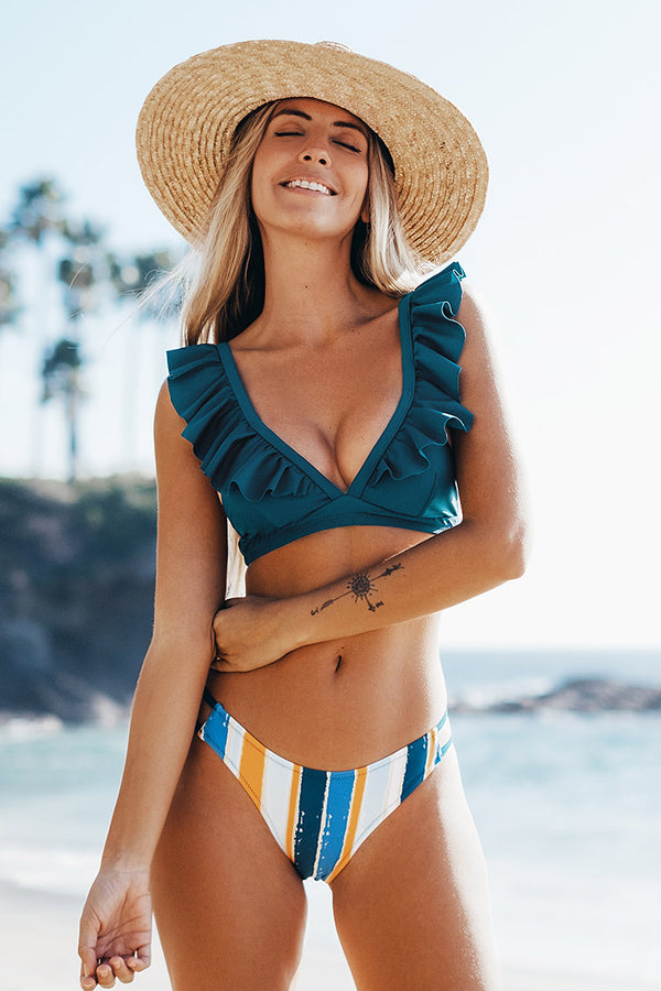 Blue Ruffle And Striped Bikini