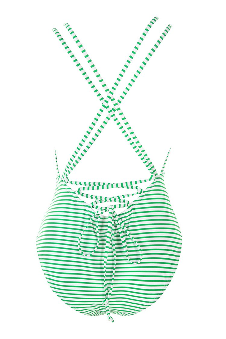 Green Stripe Cut Out One-Piece Swimsuit