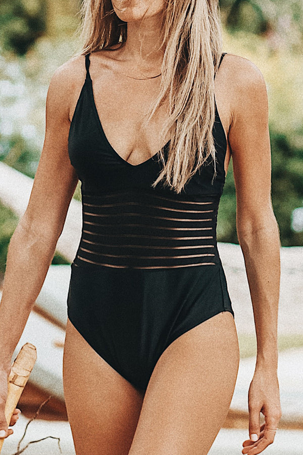 Black Swan Mesh One-piece Swimsuit