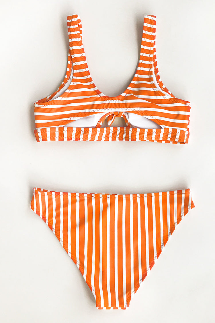 Orange And White Stripe Bikini Top  With Bowknot