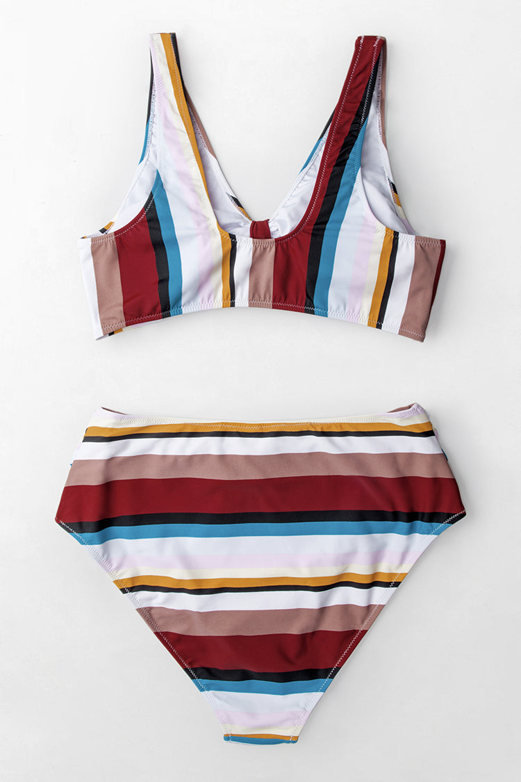 Colorful Stripe High-Waisted Bikini Bottom