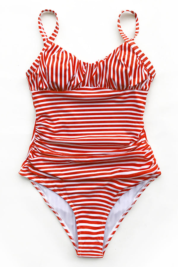 Red and White Stripe One-Piece Swimsuit with Ruching