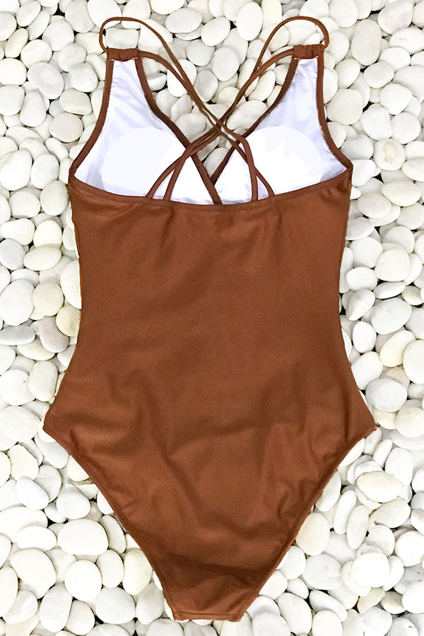 Shimmery Caramel Ruched One-Piece Swimsuit