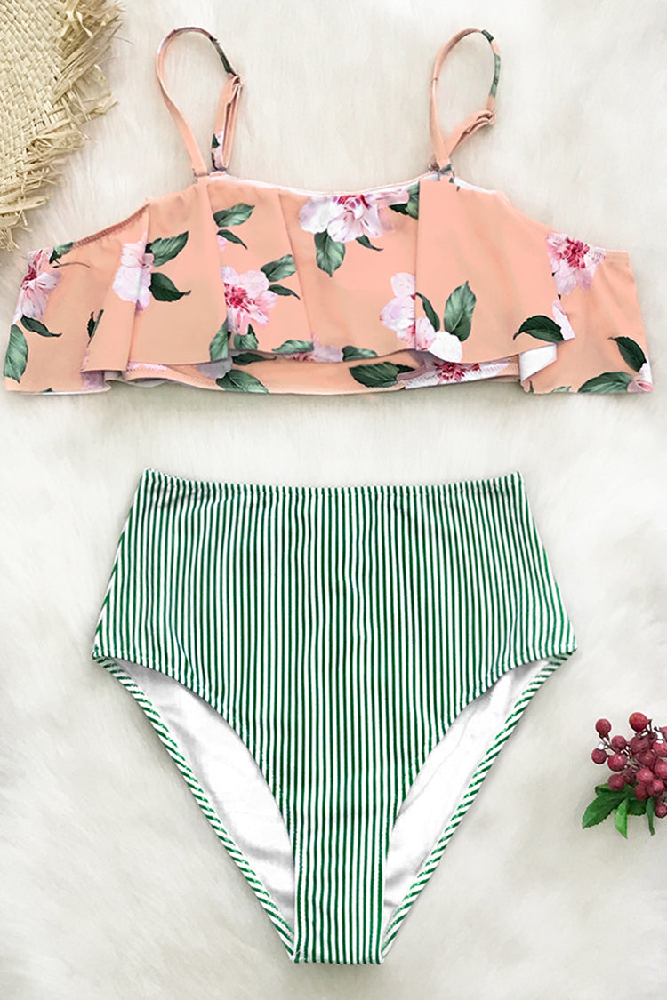 Pink Floral And Green Striped Falbala Bikini