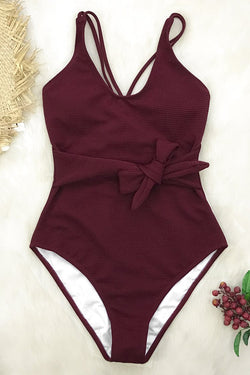 Wine Red Bowknot One-Piece Swimsuit