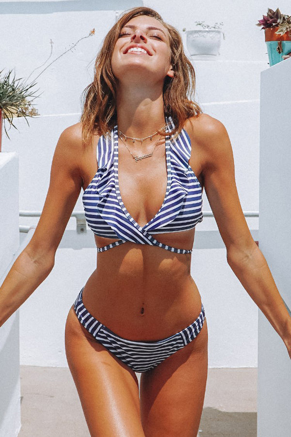 Purple and White Stripe Bikini Set