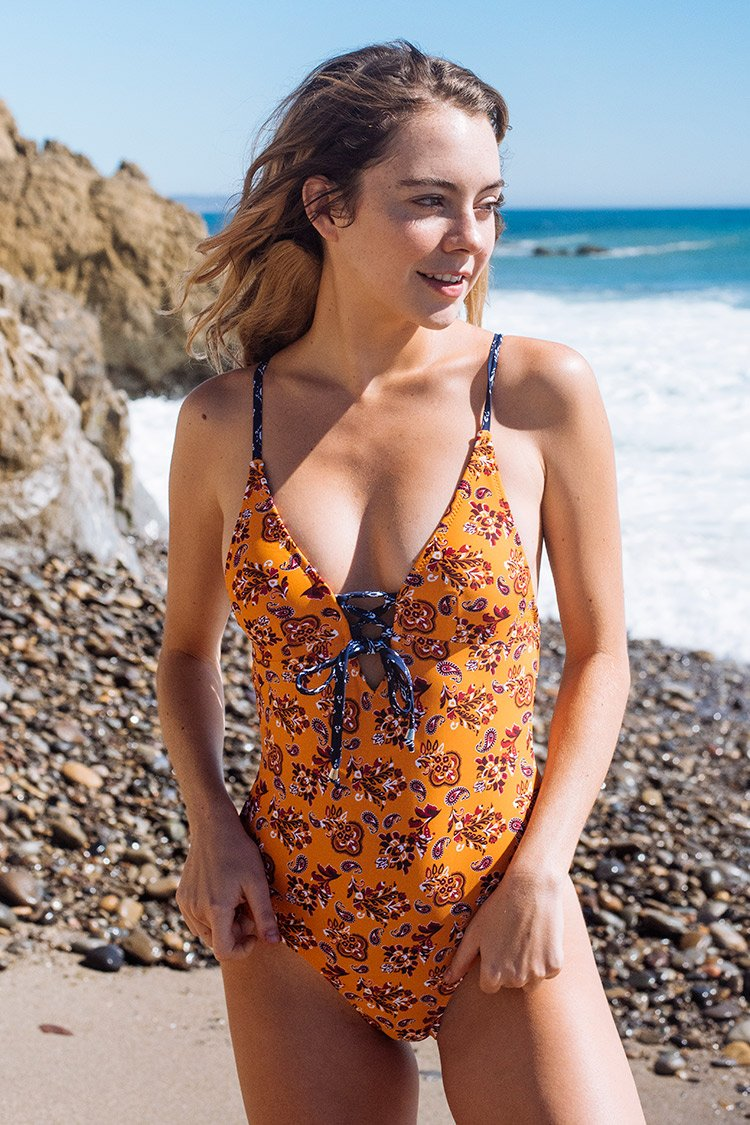 Summer Paisley Lace-Up One-Piece Swimsuit