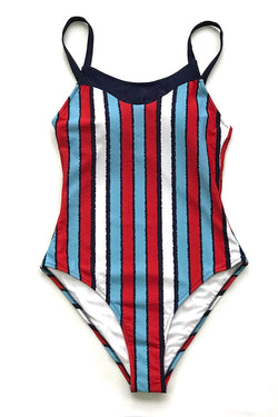 Blue And Red Stripe One-Piece Swimsuit