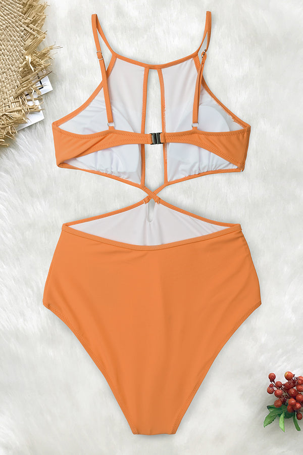 Vibrant Yellow High Neck One-Piece Swimsuit