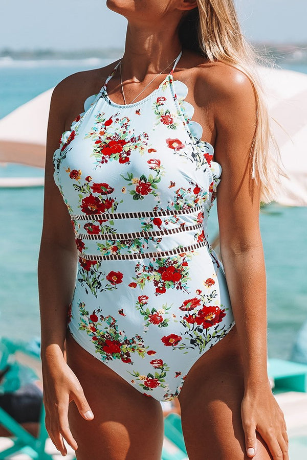 Light Blue And Red Floral Halter One-Piece Swimsuit