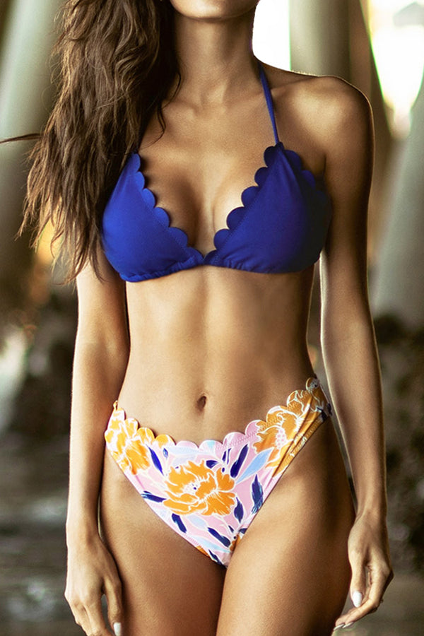 Blue and Floral Bikini with Scalloped Edge