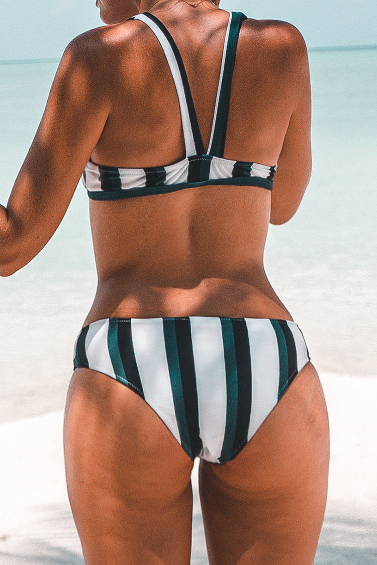 Black Indigo And White Stripe Lace-Up Bikini