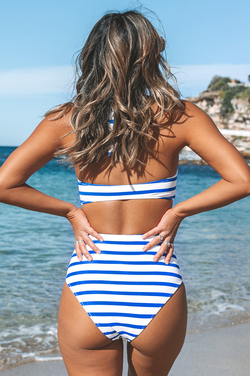 Blue and White Stripe Bikini with Moulded Cups