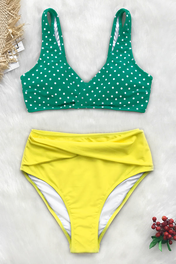 Green Polka Dot and Yellow High-Waisted Bikini