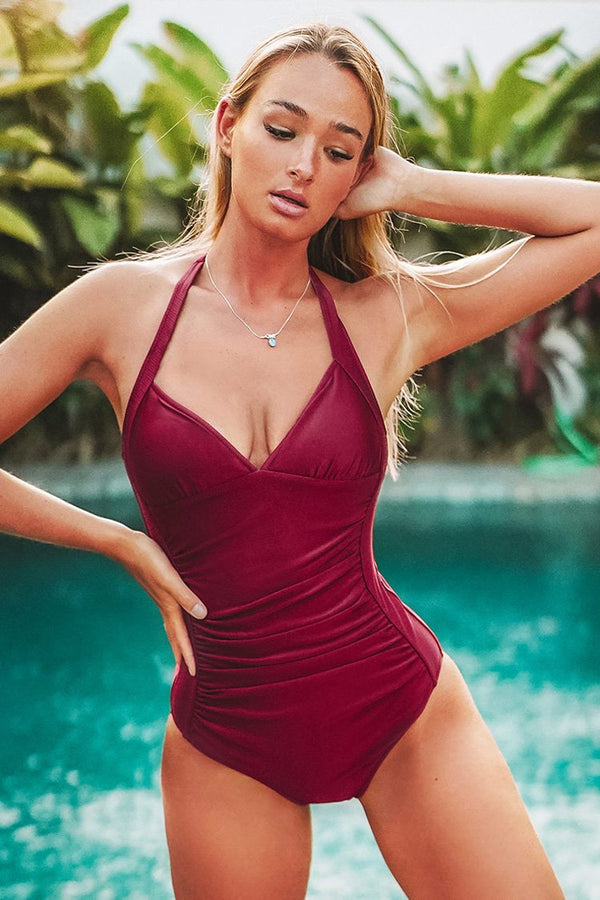 Red Shimmer Halter One-Piece Swimsuit
