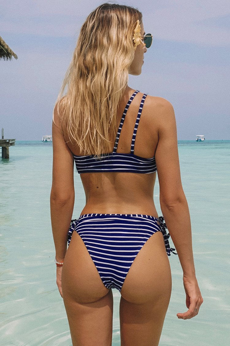 Blue And White Stripe One-Shoulder Bikini