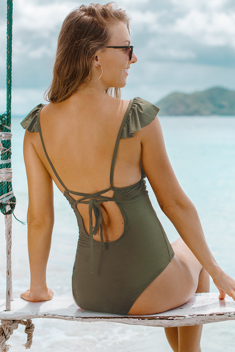 Olive Green One-Piece Swimsuit with Ruffled Shoulder Straps