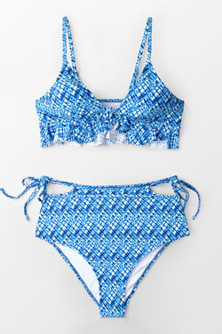 Blue Ruffle High-Waisted Bikini