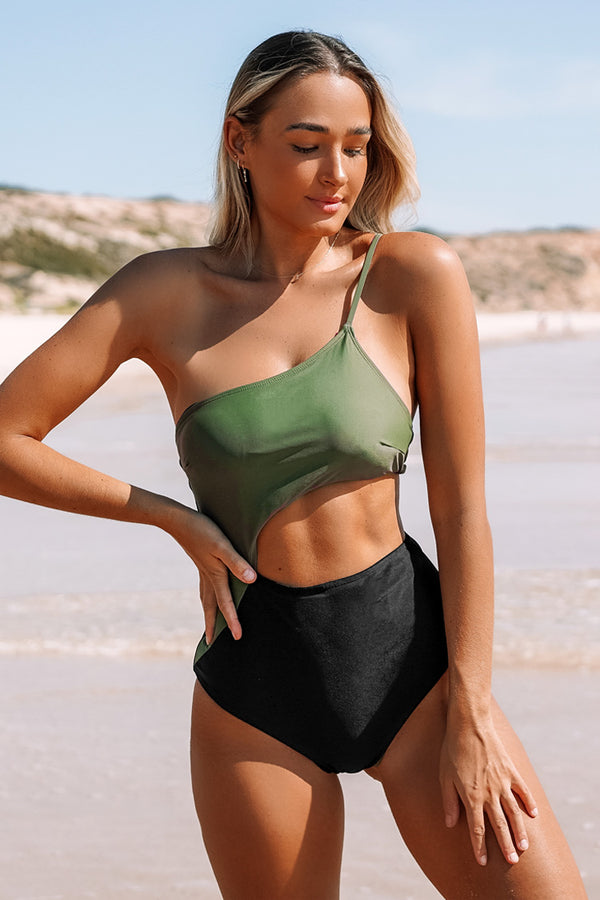 Green and Black Sexy Cutout Swimsuit