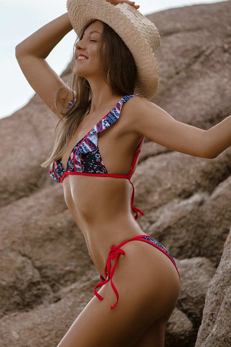 Red White and Blue Paisley Self-Tie Bikini