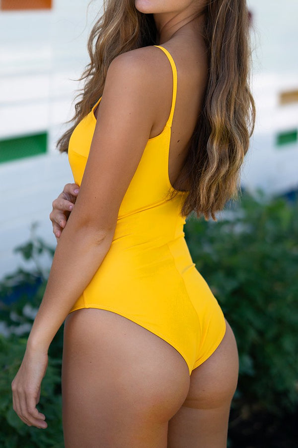 Bright Yellow One-Piece Swimsuit