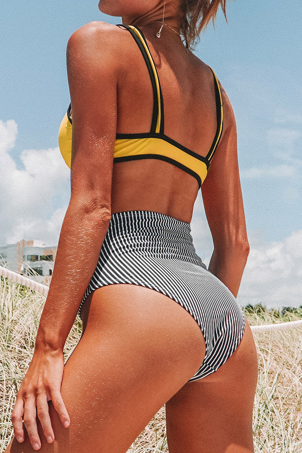 Yellow and Black Stripe High-Waisted Bikini