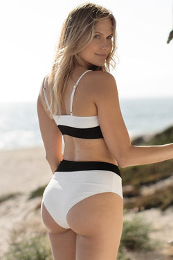 Black and White Bikini with High-Waisted Bottom