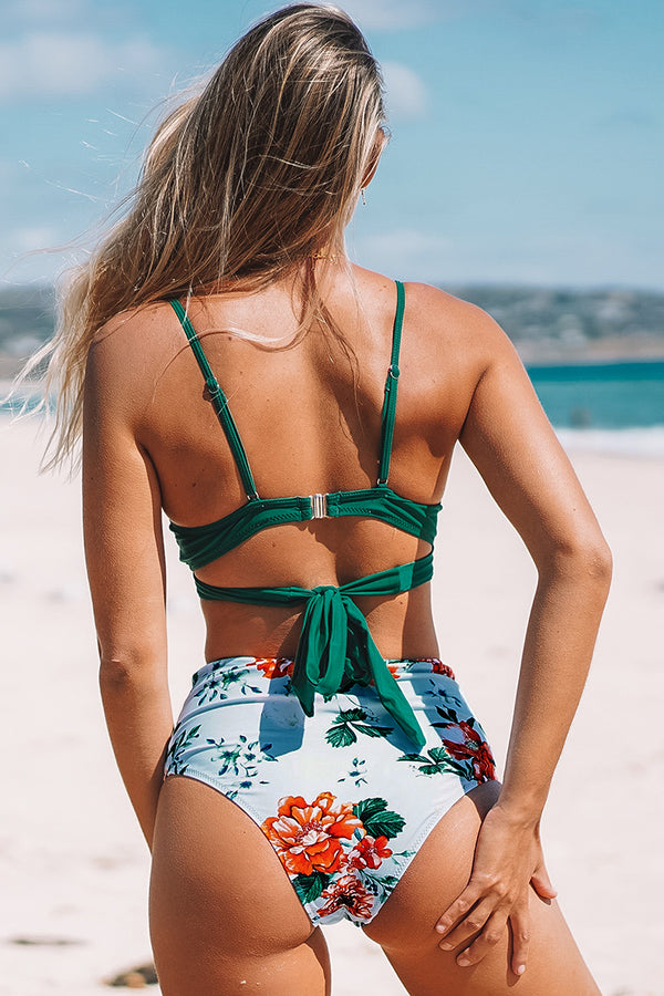 Solid and Floral High-Waisted Bikini with Molded Cups