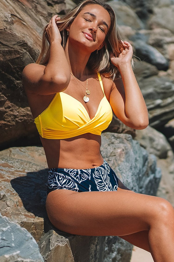 Yellow Twist-Front and Palm Print High Waisted Bikini