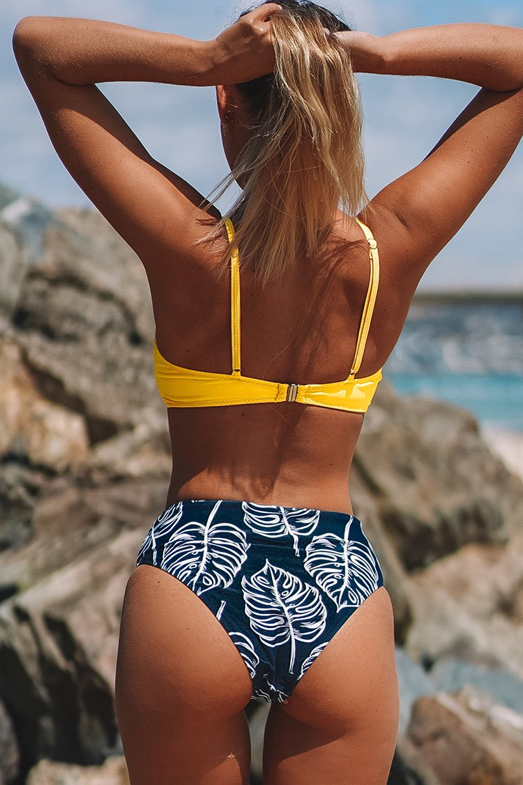 Yellow Twist-Front and Palm Print High-Waisted Bikini