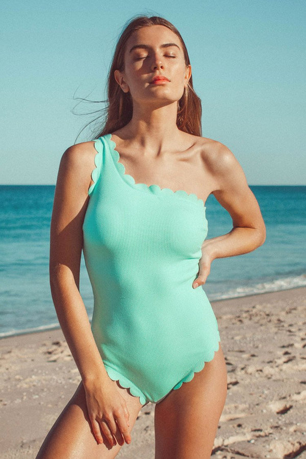 Aqua Scallop One Shoulder One Piece Swimsuit