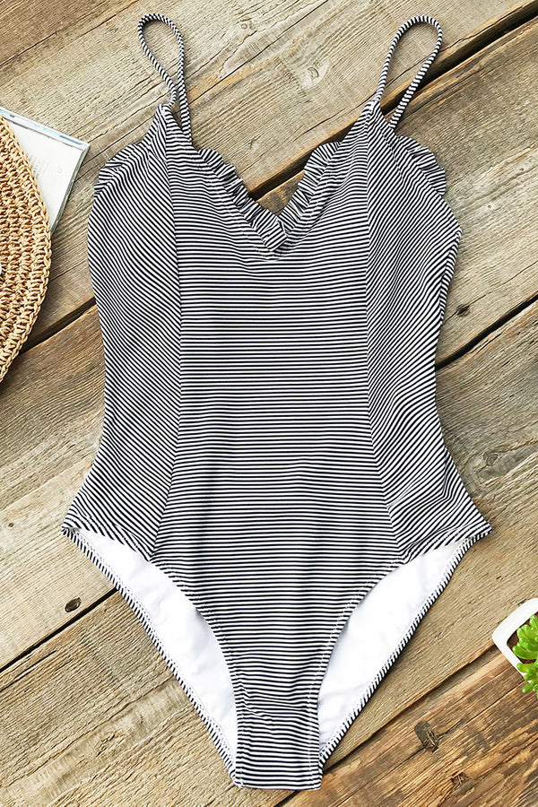 Alluring Stripe One-piece Swimsuit