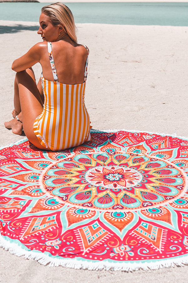 Mandala Round Beach Towel With Tassel
