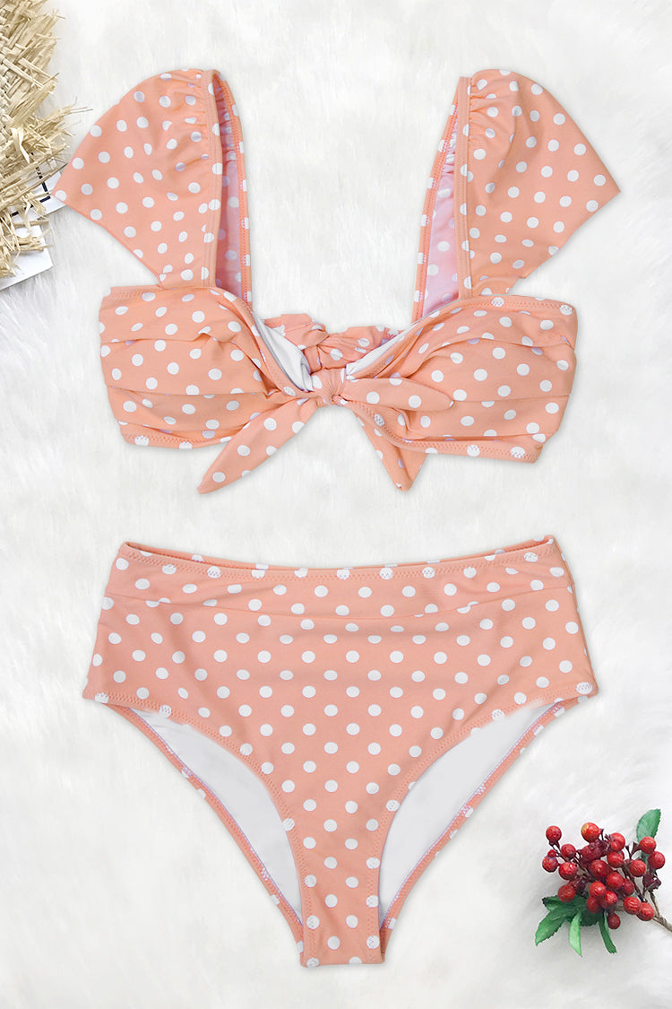 Peach Polka Dot High-waisted Bikini