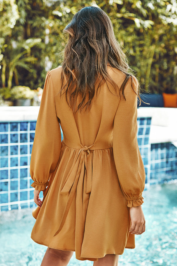 Yellow Puff Sleeve Shirt Dress