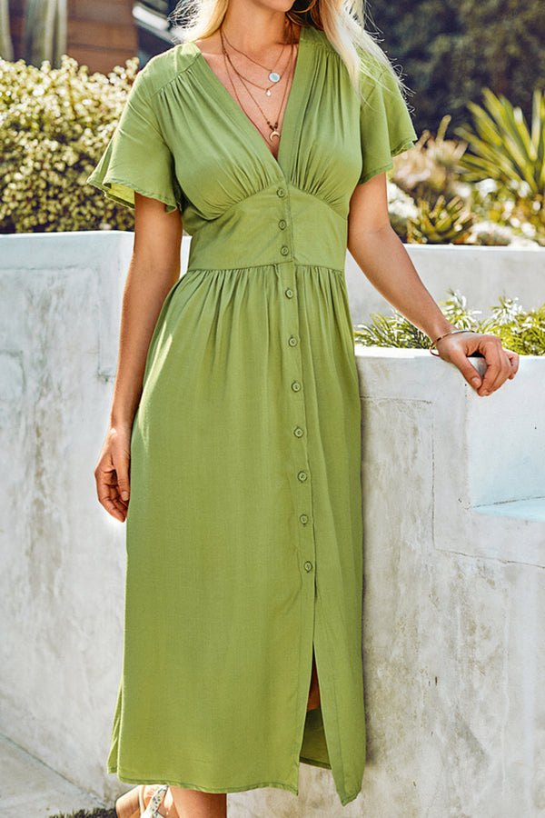 Short Sleeve Buttoned V-Neck Midi Dress