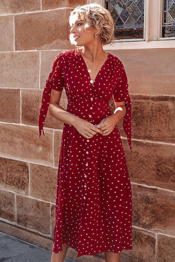 Love Print Buttoned Midi Dress