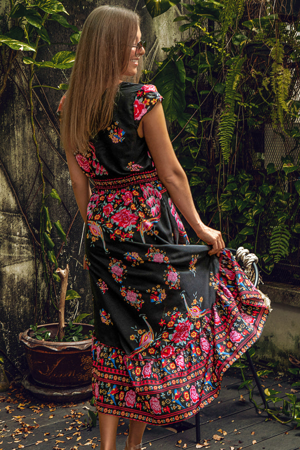 Black Floral Print Ruffled Midi Dress