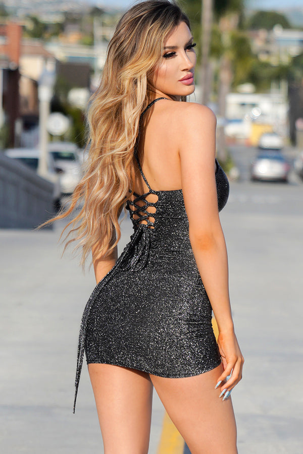 Black Sexy Tight Backless Short Dress