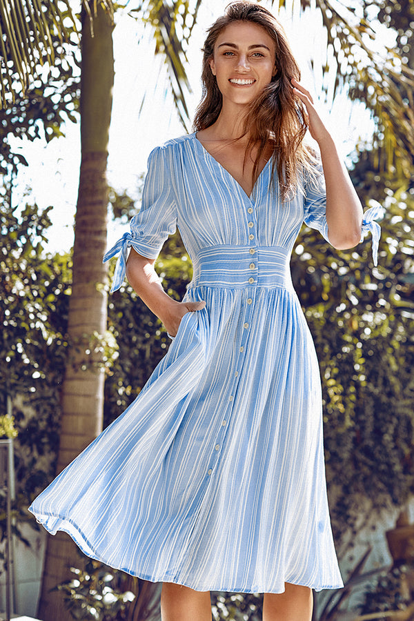 Blue and White Stripe Print Buttoned Midi Dress