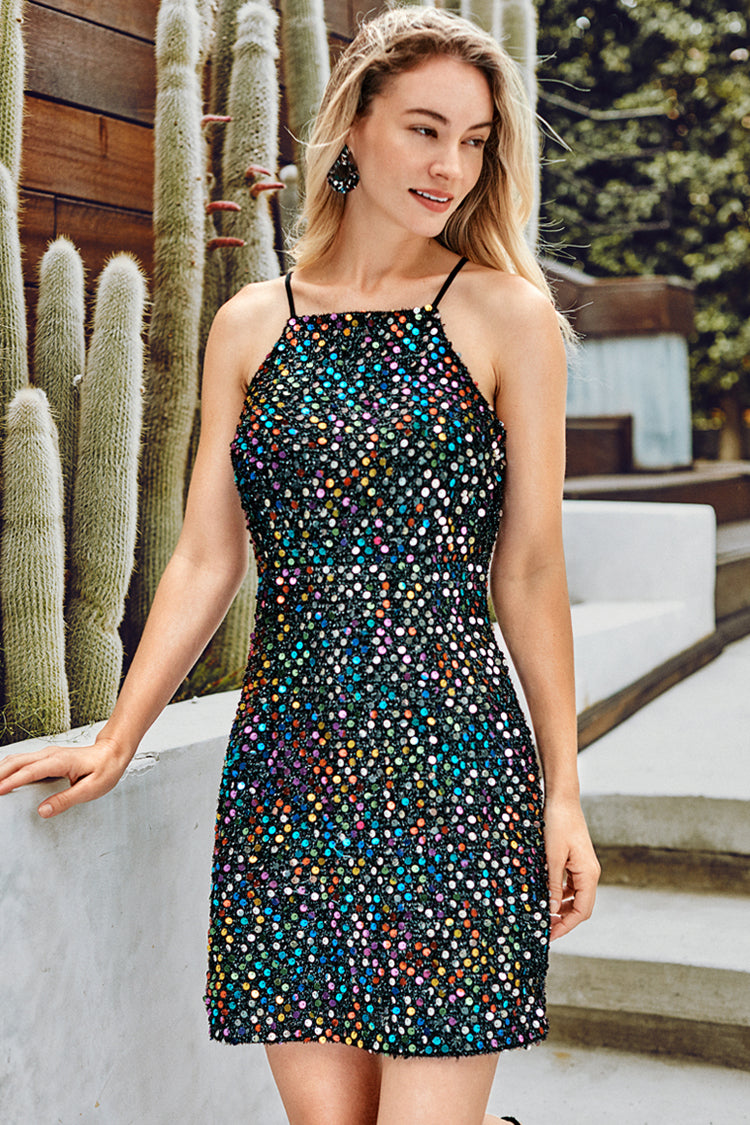 Rainbow Sequins Party Dress