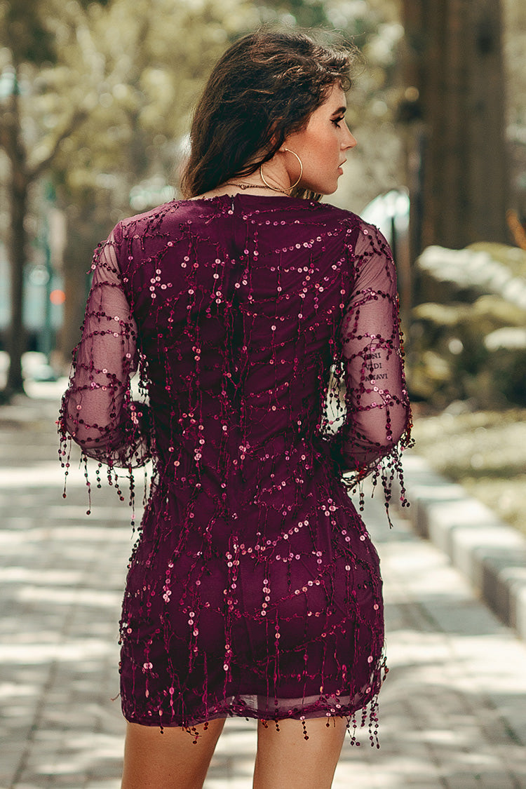 Wine Red Bodycon Mini Dress with Sequins