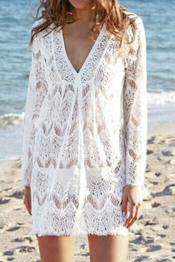 White Crochet V-Neck Cover Up
