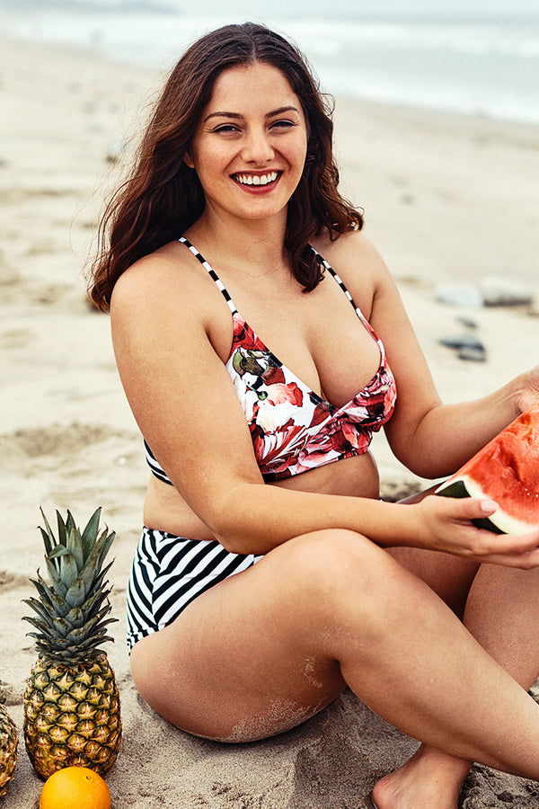 Floral Print Plus Size Bikini With High-Waisted Bottom