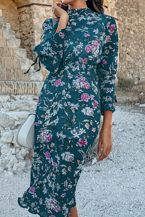 Navy Floral Long Sleeve Midi Dress