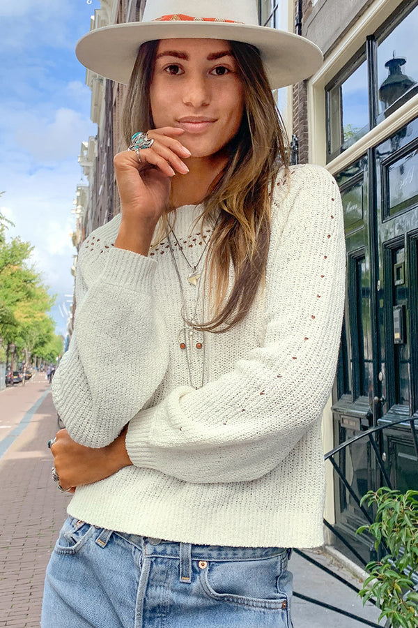 White Chunky Off-The-Shoulder Sweater