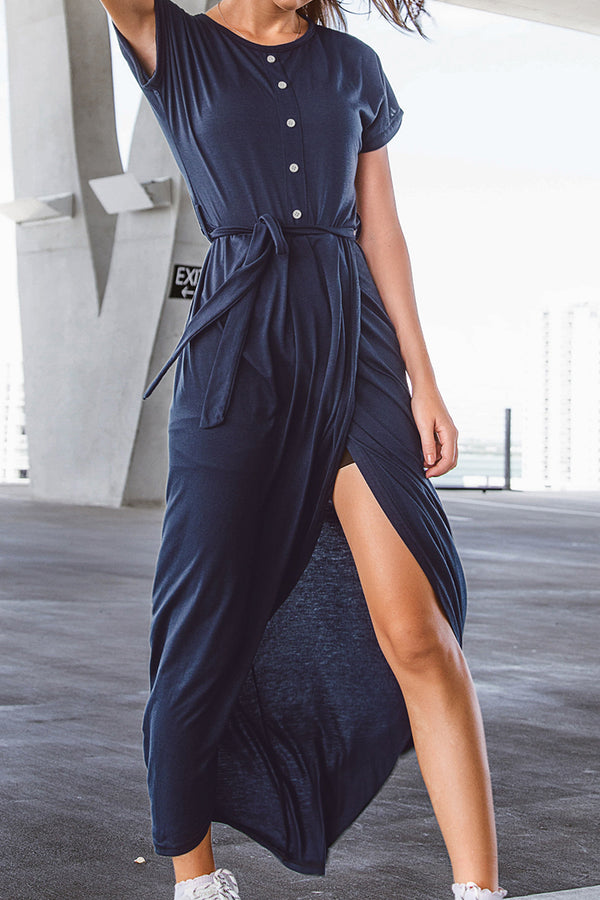 Navy Button Front High-Low Dress